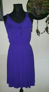 Spense Indigo Stretch Ruffle front dress